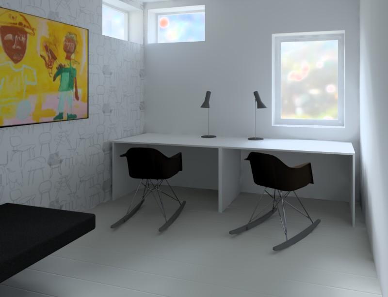 Interiör från planerad nybyggnad